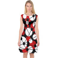 Red, black and white pattern Capsleeve Midi Dress