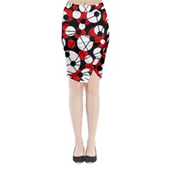 Red, Black And White Pattern Midi Wrap Pencil Skirt
