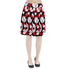 Red, Black And White Pattern Pleated Skirt