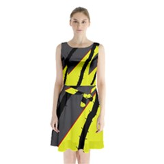 Spider Sleeveless Waist Tie Dress