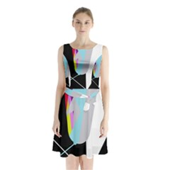 Colorful abstraction Sleeveless Waist Tie Dress