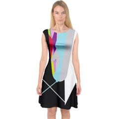 Colorful Abstraction Capsleeve Midi Dress