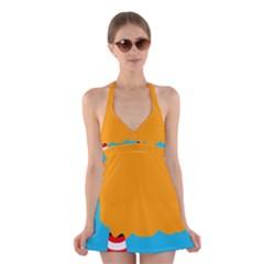 Chimney Halter Swimsuit Dress