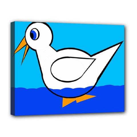 White duck Canvas 14  x 11