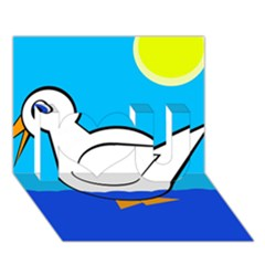 White duck I Love You 3D Greeting Card (7x5)