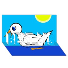 White duck BEST SIS 3D Greeting Card (8x4)