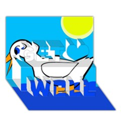 White duck Get Well 3D Greeting Card (7x5)