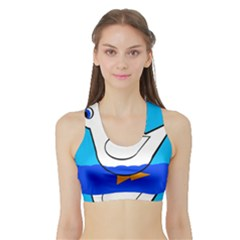 White duck Sports Bra with Border