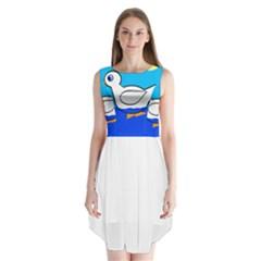 White duck Sleeveless Chiffon Dress