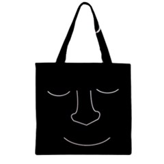 Sleeping face Zipper Grocery Tote Bag