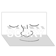 Sleeping face SORRY 3D Greeting Card (8x4)
