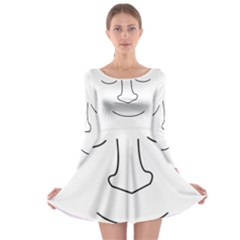 Sleeping face Long Sleeve Skater Dress