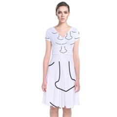 Sleeping face Short Sleeve Front Wrap Dress