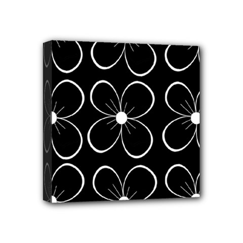 Black and white floral pattern Mini Canvas 4  x 4