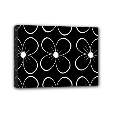 Black and white floral pattern Mini Canvas 7  x 5