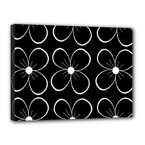Black and white floral pattern Canvas 16  x 12