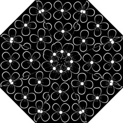 Black and white floral pattern Folding Umbrellas
