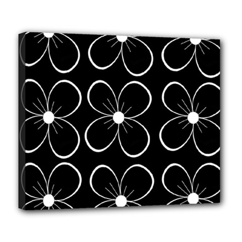 Black and white floral pattern Deluxe Canvas 24  x 20