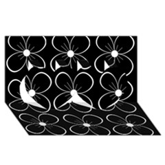 Black and white floral pattern Twin Hearts 3D Greeting Card (8x4)