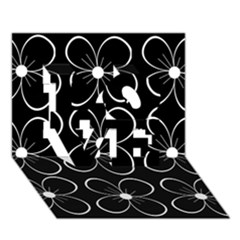 Black and white floral pattern LOVE 3D Greeting Card (7x5)