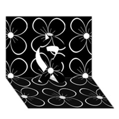 Black and white floral pattern Ribbon 3D Greeting Card (7x5)