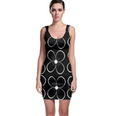 Black and white floral pattern Sleeveless Bodycon Dress