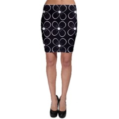 Black and white floral pattern Bodycon Skirt