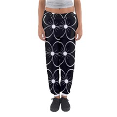 Black And White Floral Pattern Women s Jogger Sweatpants