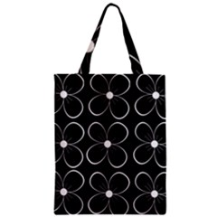 Black and white floral pattern Zipper Classic Tote Bag