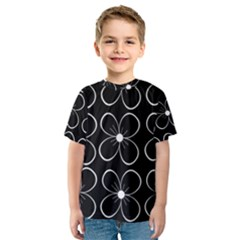 Black and white floral pattern Kid s Sport Mesh Tee