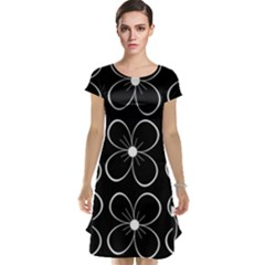 Black and white floral pattern Cap Sleeve Nightdress