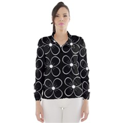 Black and white floral pattern Wind Breaker (Women)