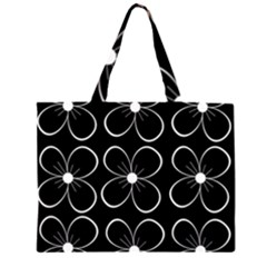 Black and white floral pattern Large Tote Bag