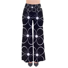 Black And White Floral Pattern Pants