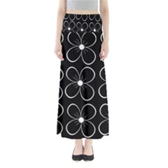 Black and white floral pattern Maxi Skirts