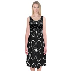 Black And White Floral Pattern Midi Sleeveless Dress