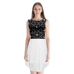 Black and white floral pattern Sleeveless Chiffon Dress