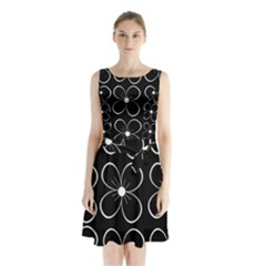 Black and white floral pattern Sleeveless Waist Tie Dress