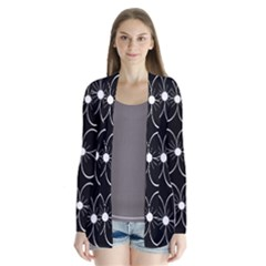 Black and white floral pattern Drape Collar Cardigan
