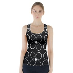 Black and white floral pattern Racer Back Sports Top