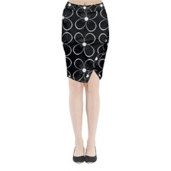 Black and white floral pattern Midi Wrap Pencil Skirt