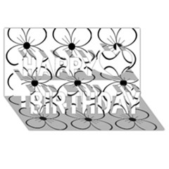 White flowers pattern Happy Birthday 3D Greeting Card (8x4)