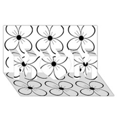 White flowers pattern MOM 3D Greeting Card (8x4)