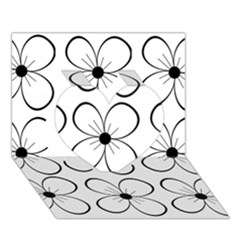 White Flowers Pattern Heart 3d Greeting Card (7x5)