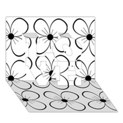 White flowers pattern LOVE 3D Greeting Card (7x5)
