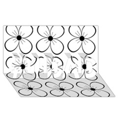 White flowers pattern #1 DAD 3D Greeting Card (8x4)