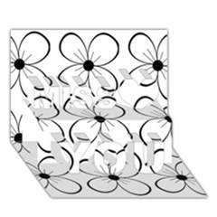 White flowers pattern Miss You 3D Greeting Card (7x5)
