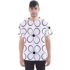 White flowers pattern Men s Sport Mesh Tee