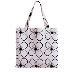 White flowers pattern Zipper Grocery Tote Bag