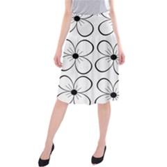 White flowers pattern Midi Beach Skirt